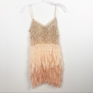 Free People Ombré Lace Pink Dress Size S Feather